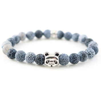 ***Free***Silver Panda Agate Stone Wristband For Men