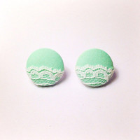 "Handmade ""Lovely Lace"" Mint Green and Cream Lace Fabric Earrings"