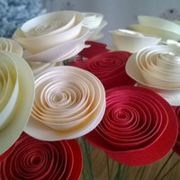 bouquet of Red & ivory roses 12 Spiral Paper flowers table Centerpiece Rolled paper one dozen Cardstock flowers on wire stems holiday gift