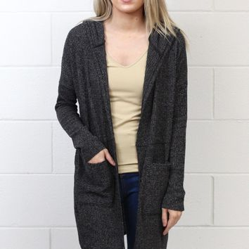 Heathered Long Sleeve Two Pocket Cardigan {Charcoal}