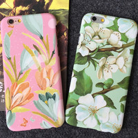 Original Lily Floral iPhone 5s 5se 6 6s Plus Case Best Solid Cover + Gift Box 398
