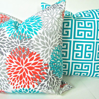THROW PILLOWS Set of 2 - 18x18 Orange Teal Throw Pillow Covers 18 x 18 Turquoise Gray Decorative Throw pillows Indoor Outdoor