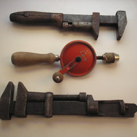 Vintage Rustic Farmhouse Tools Décor - Wrenches & Hand Drill (Combo No. 2)