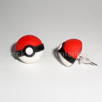 Pokeball Pokemon Handmade Stud Earrings