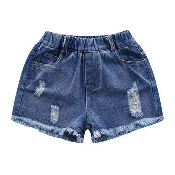 Hot Shorts New Fashion Summer Girls Denim  Baby Girls Clothing Ripped Hole Denim  Jeans Children Kids Clothes High QualityAT_43_3