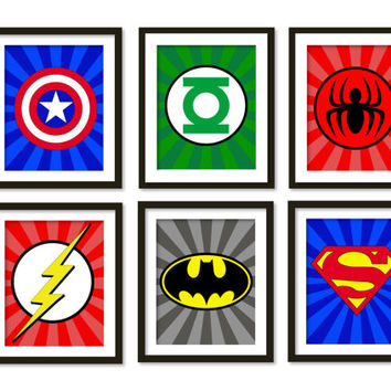 Super hero art, kids wall art, boys room decor, Spider-Man, superman, batman, flash, captain America, green lantern, superheroes logos.