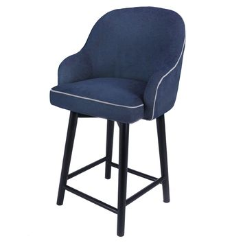 Morris Fabric Swivel Counter Stool, Denim Slate