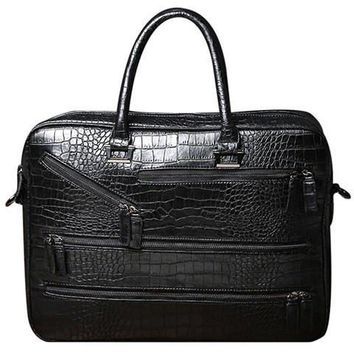 Trendy Men's Briefcase With Crocodile Print and Zips Design   Black