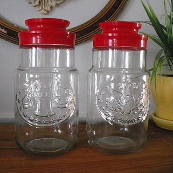 2 Bicentennial Red  Glass Jars Anchor Hocking Eagle and the Liberty Bell Promotional Tang  Jars Americana