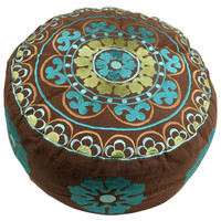 Ella Mini Embroidered Pouf, Brown/Blue, Poufs