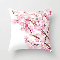 Watercolor Cherry Blossoms Throw Pillow by Yao Cheng Design