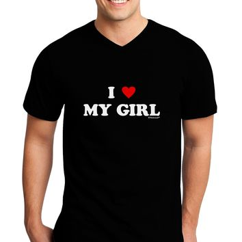 I Heart My Girl - Matching Couples Design Adult Dark V-Neck T-Shirt by TooLoud