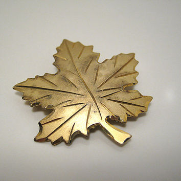 Vintage Maple Leaf Brooch Gold Washed Sterling Silver Bond Boyd Pin 925 Fall Autumn Womens Woodland Jewelry Mid Century Ladies