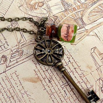 12pcs/lot vintage Steampunk Key Necklace Absinthe glass bottle in bronze