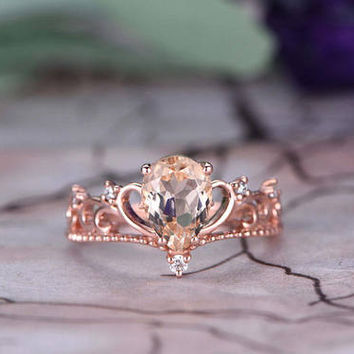 6x9mm Pear Cut Morganite Engagement Ring,14k Rose Gold,Anniversary ring,Promise ring,Art deco Crown,Half Eternity Band,Fillgree,Gift for her