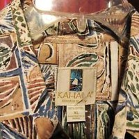KAHALA  HAWAIIAN SHIRTS VINTAGE  TRIBAL CACAO CASUAL!SIZE XL !MADE IN HAWAII