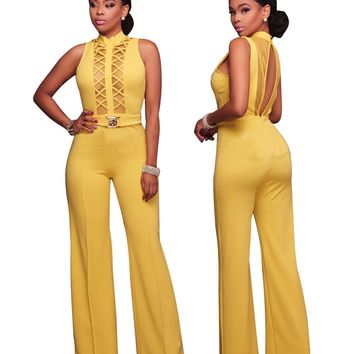 Yellow Cutout Jumpsuit with Open Back