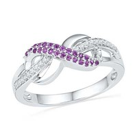 Amethyst and Diamond Accent Infinity Loop Ring in Sterling Silver