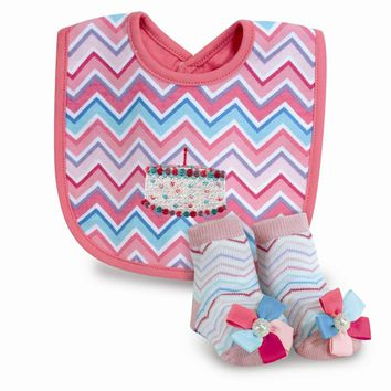 Pink Chevron Happy Birthday Bib & Sock Set