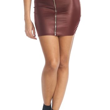 Faux Leather O-Ring Zip Up Mini Skirt