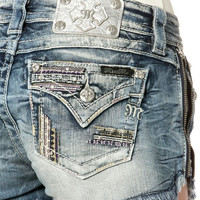Miss Me Crystal Night Zipper Shorts