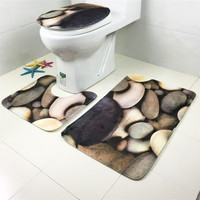 3 pieces/Set Cobblestones Pattern Bath Mat Flannel Contour Rug Lid Toilet Cover Carpet Bathroom Set