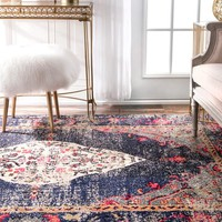 nuLOOM Traditional Distressed Medallion Navy Rug (5'3 x 7'7) | Overstock.com Shopping - The Best Deals on 5x8 - 6x9 Rugs