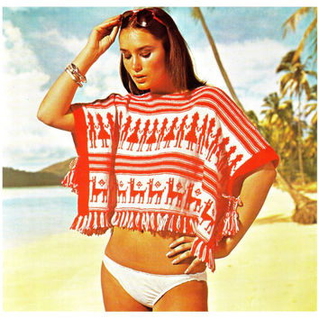 "Vintage 70s Aztec Knitted ""BEACH"" Poncho PDF Pattern - PERUVIAN"