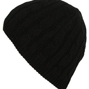 DRY77 Knit Cable Pattern Beanie Hat, Black