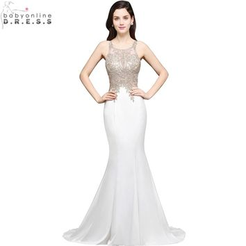 Robe de Soiree Longue Sexy Sheer Back Beaded Lace Mermaid Evening Dress  Long Cheap White Evening Gown Vestido de Festa