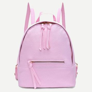 Vegan Leather Pink Backpack