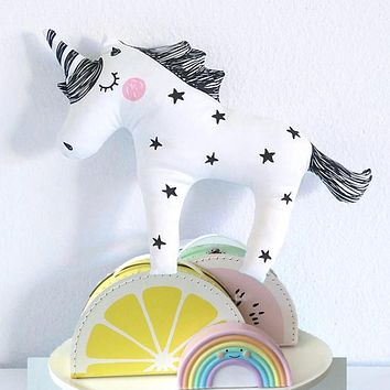 INS Baby Unicorn Stuffed Toys Cute Licorne Pillow Animal Shaped Doll Decorative Bedding Pillows for Kids Room Christmas Gifts