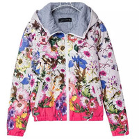 Colorful Floral Print Long Sleeve Zipper Hooded Outerwear