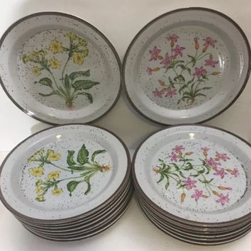 Hearthside Buffet Ware 2 Pc. Salad Plates Wild Flower Japan Stoneware  651 & 653