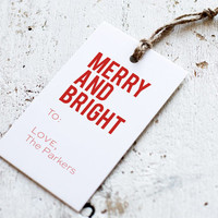 Christmas Stamp for Gift Tags - Merry and Bright Personalized Holiday Wood Custom Rubber Stamp for Tag
