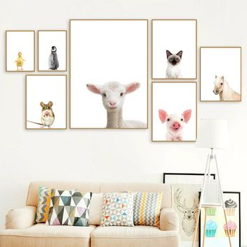 Wall Art Canvas Painting Cute Sheep Cat Penguin Duck Pig Nordic Posters And Prints Animals Poster Wall Pictures Kids Room Decor