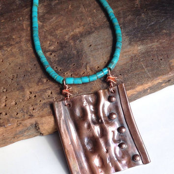 Copper Air Chased Pendant, Metalwork Necklace, Turquoise Heishi Beads, Southwest, Etsy, Etsy Jewelry, Hammered Metal