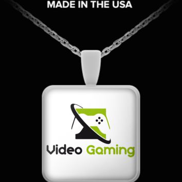 Video Gaming- Square Necklace videogamingsqnecklace
