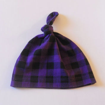 Purple and Black Plaid Top Knot Jersey Knit Baby Hat For Boy or Girl, Beanie Baby Hat, Boy Baby Hat, Girl Baby Hat, Infant Hat, Newborn Hat