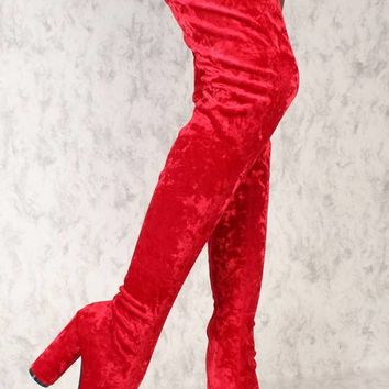Sexy Red Thigh High Circle Chunky Heel Boots Crushed Velvet