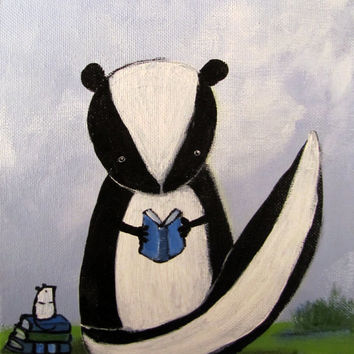 Kids Wall Art, Woodland Nurery, Skunk Painting for Children