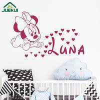 DIY Minnie Mouse Personalized Name Vinyl Wall Decal Stickers For Kids Rooms Baby Girl Nursery Wall Art Decor Murals Poster J01