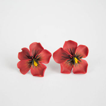 Pansies, Hypoallergenic, Heartsease flowers, Red Pansies -- Earrings stud