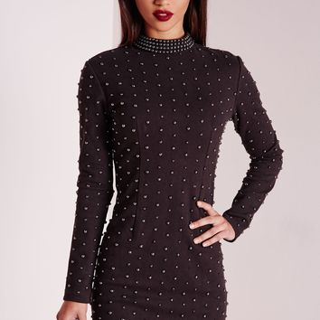 Missguided - Premium Stud High Neck Bodycon Mini Dress Black