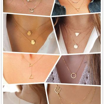 Casual Personality Chunky Necklace Infinity Love Bridemaid bijouterie Gold Plating Collar for Women Summer Beach Boho Jewelry