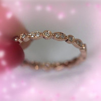 Unique 14K Rose Gold Diamond Engagement Wedding Ring Eternity Band Ring Promise Ring
