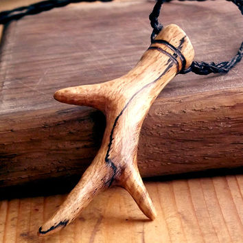 Deer Antler Pendant - Carved Wood Pendant, Roe Antler in Spalted Beech