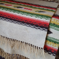 Set of 2 Vintage Handmade Wool Native American Indian Style Dining Table Scarves Runners Cloths Rustic Decor Great Housewarming Wedding GIft