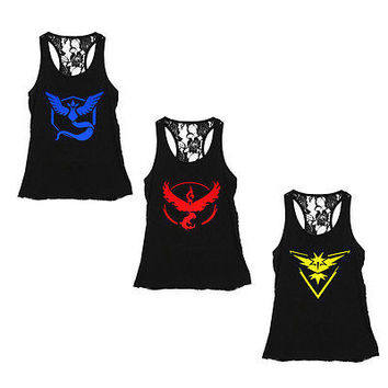 Pokemon Go Team Women Back Lace vest tank tops Valor Team Mystic Team Instinct Pokeball Women Sexy Workout Vest Tank Tops