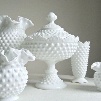 Hobnail Milk Glass Footed Candy Dish by Fenton